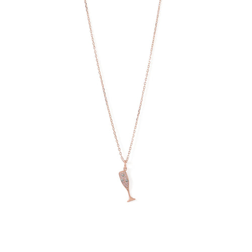 14 Karat Rose Gold Plated CZ Champagne Glass Charm Necklace - LazerPoints.com