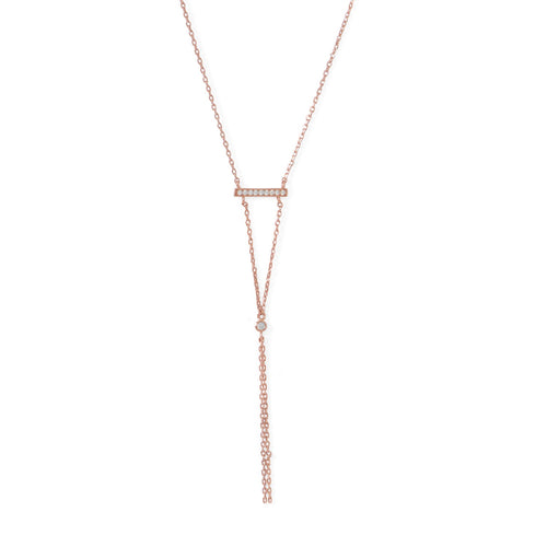 14 Karat Rose Gold Plated Bar Necklace with Y Drop - LazerPoints.com