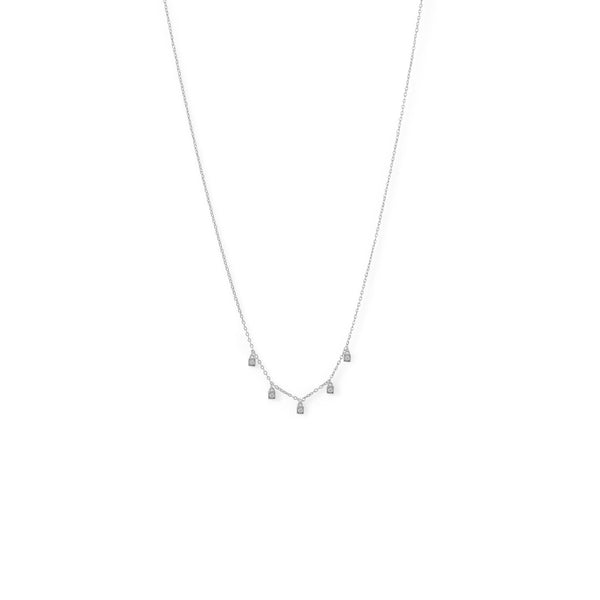 Rhodium Plated Dainty CZ Charm Necklace - LazerPoints.com