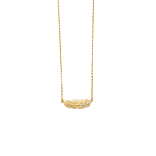 18 Karat Gold Plated Sideways CZ Feather Necklace - LazerPoints.com