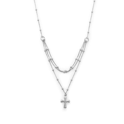 Rhodium Plated Three Row Necklace with Cross