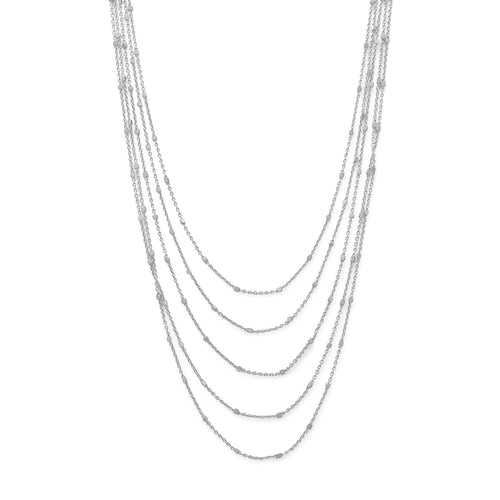 Rhodium Plated Five Strand Satellite Chain Necklace - LazerPoints.com