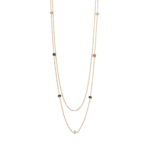 Two Strand 14 Karat Gold Plated Tourmaline Necklace - LazerPoints.com
