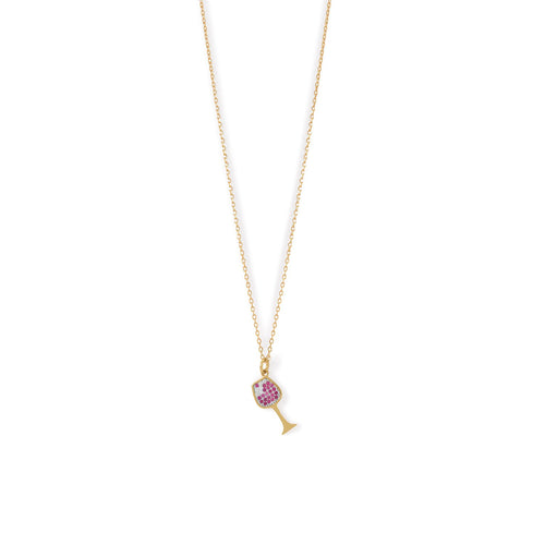 14 Karat Gold Plated CZ Red Wine Glass Charm Necklace - LazerPoints.com