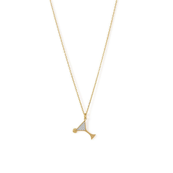 14 Karat Gold Plated CZ Martini Charm Necklace - LazerPoints.com