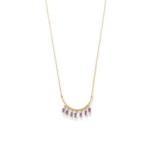 14 Karat Gold Plated Curved Bar Amethyst Drop Necklace - LazerPoints.com