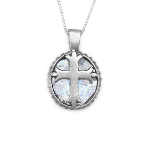 "18"" Oval Roman Glass Cross Necklace"