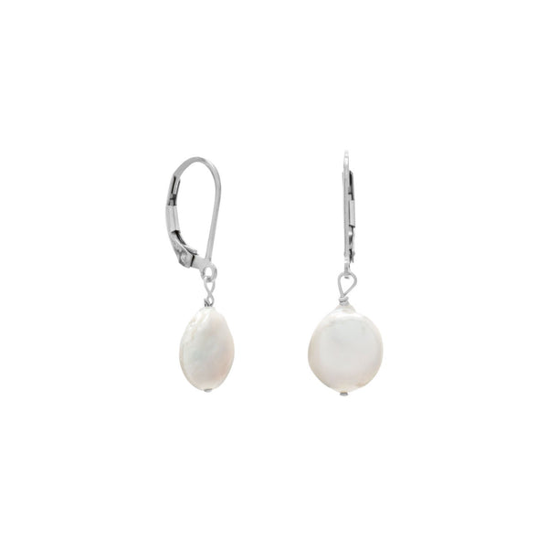 10mm Cultured Freshwater Coin Pearl Earrings - LazerPoints.com