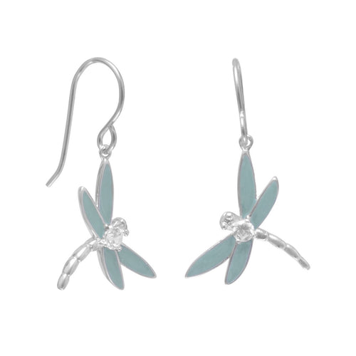 Enamel and CZ Dragonfly Earrings