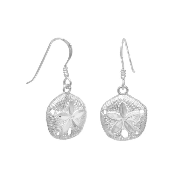 Diamond Cut Sand Dollar French Wire Earrings - LazerPoints.com