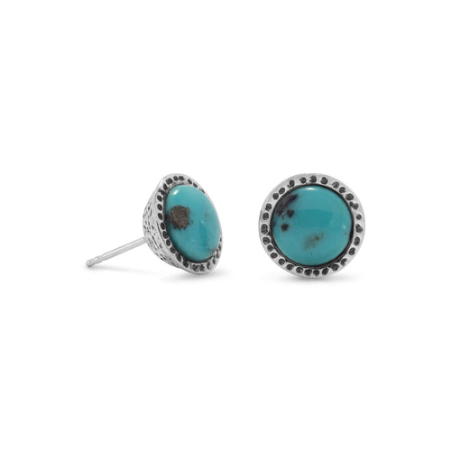 Oxidized Stabilized Turquoise Stud Earrings - LazerPoints.com
