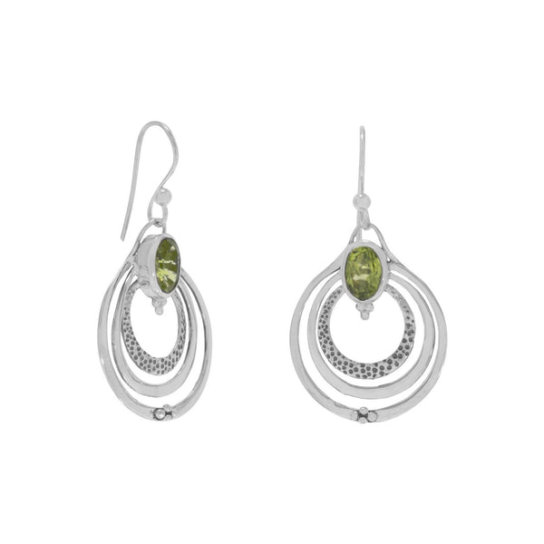 Oxidized Triple Circle with Peridot Earrings - LazerPoints.com