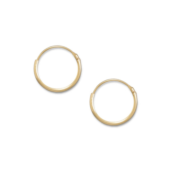 14/20 Gold Filled 1mm x 12mm Hoops - LazerPoints.com