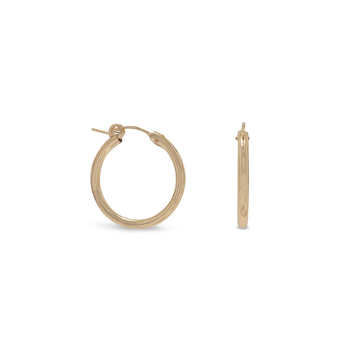 12/20 Gold Filled 2mm x 22mm Hoops - LazerPoints.com