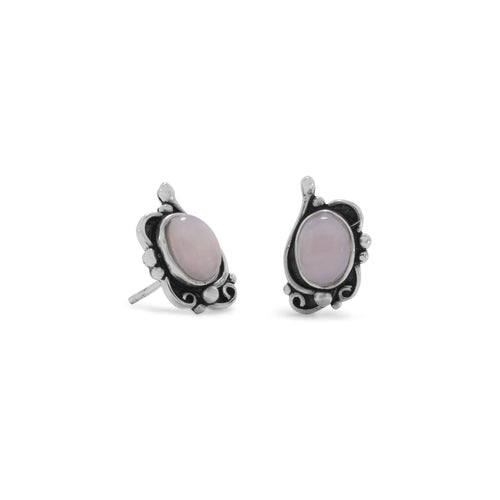 Oxidized Pink Opal Earrings - LazerPoints.com
