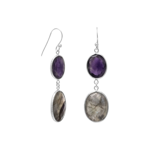 Freeform Amethyst and Labradorite Earrings - LazerPoints.com