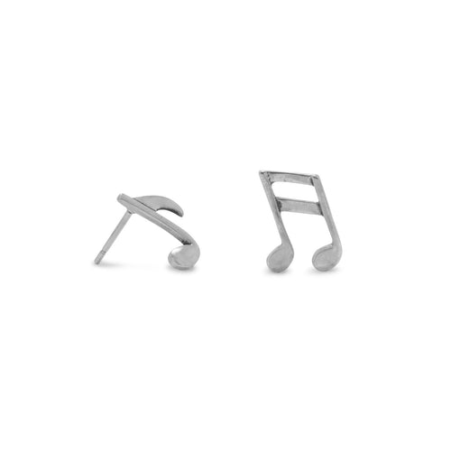 Oxidized Musical Notes Earrings - LazerPoints.com