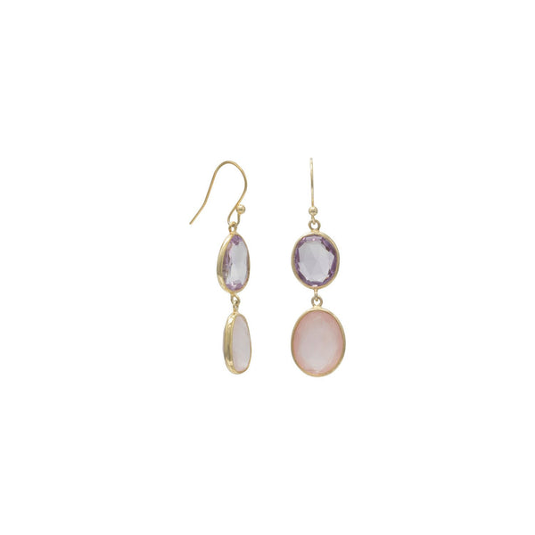 14 Karat Gold Plated Quartz and Amethyst Drop Earrings