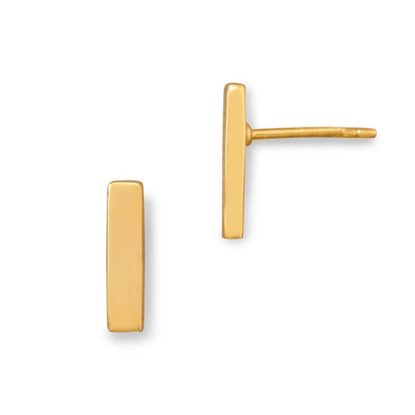 14 Karat Gold Plated Bar Stud Earrings - LazerPoints.com