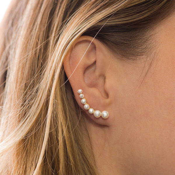 14 Karat Gold Plated Graduated Cultured Freshwater Pearl Ear Climbers - LazerPoints.com