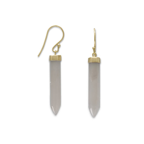 14 Karat Gold Plated Spike Pencil Cut Gray Moonstone Earrings - LazerPoints.com