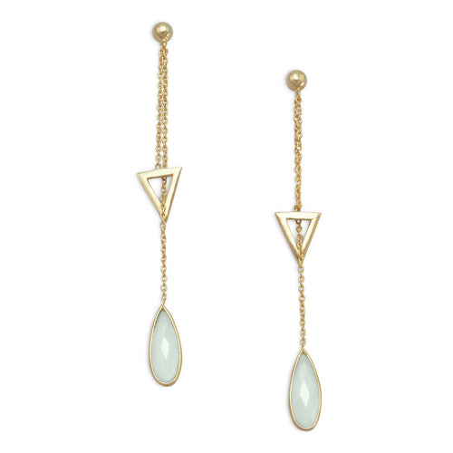 14 Karat Gold Plated Lariat Style Earrings with Chalcedony Drop - LazerPoints.com