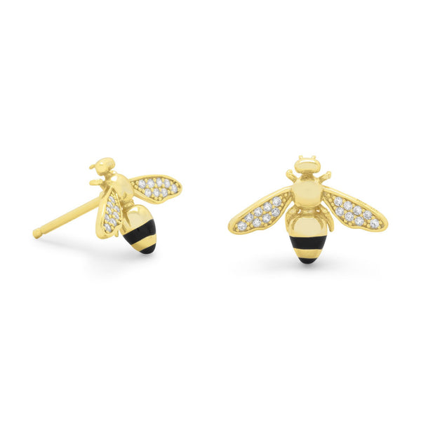 14 Karat Gold Plated Signity CZ Bee Earrings