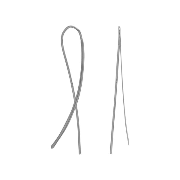 Rhodium Plated Flat Long Wire Earrings - LazerPoints.com