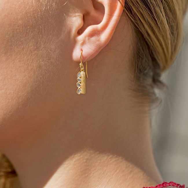 14 Karat Gold Plated Polki Diamond Drop Earrings - LazerPoints.com