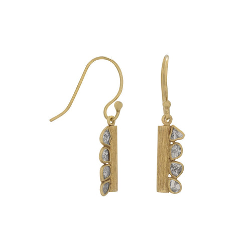 14 Karat Gold Plated Polki Diamond Drop Earrings