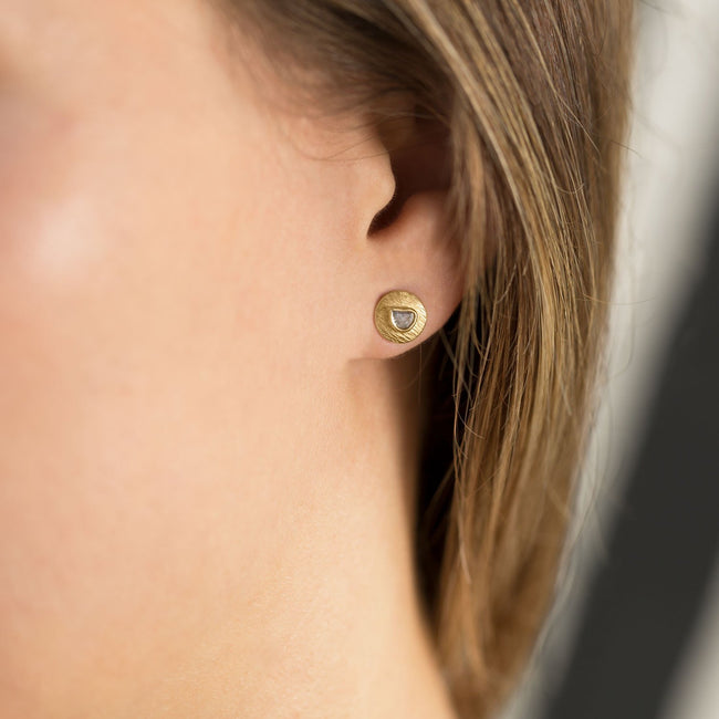 14 Karat Gold Plated Polki Diamond Post Earrings - LazerPoints.com
