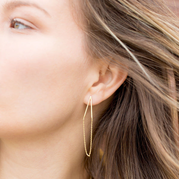 14 Karat Gold Plated Chain Drop Earrings - LazerPoints.com