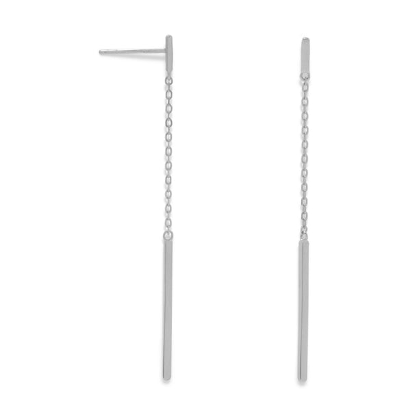 Rhodium Plated Chain and Bar Drop Earrings - LazerPoints.com