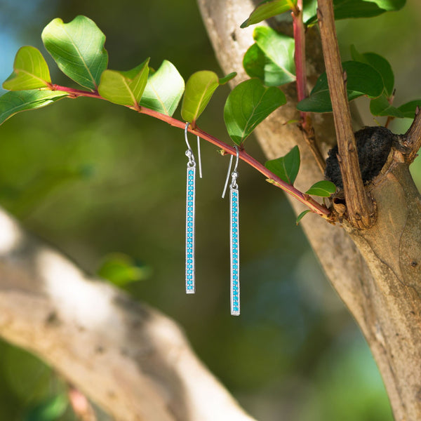 Rhodium Plated Nano Turquoise Bar Earrings - LazerPoints.com