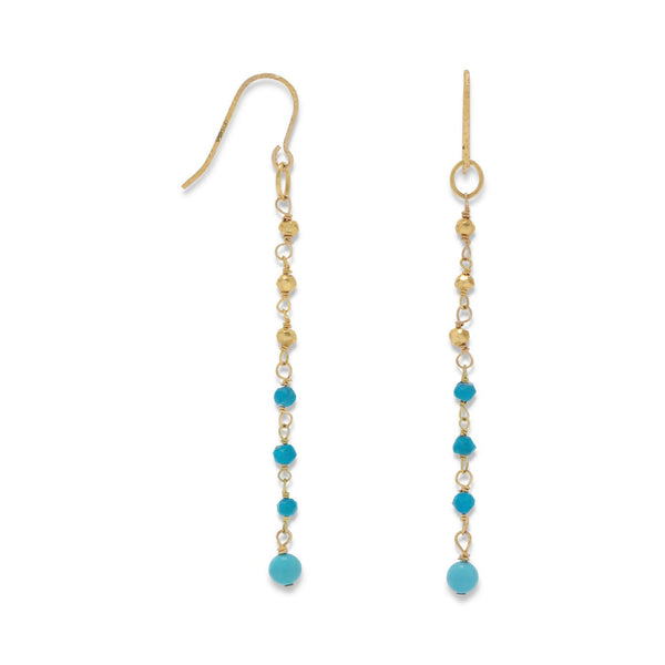 14K Gold Plated French Wire Earrings with Reconstituted Turquoise Beads - LazerPoints.com