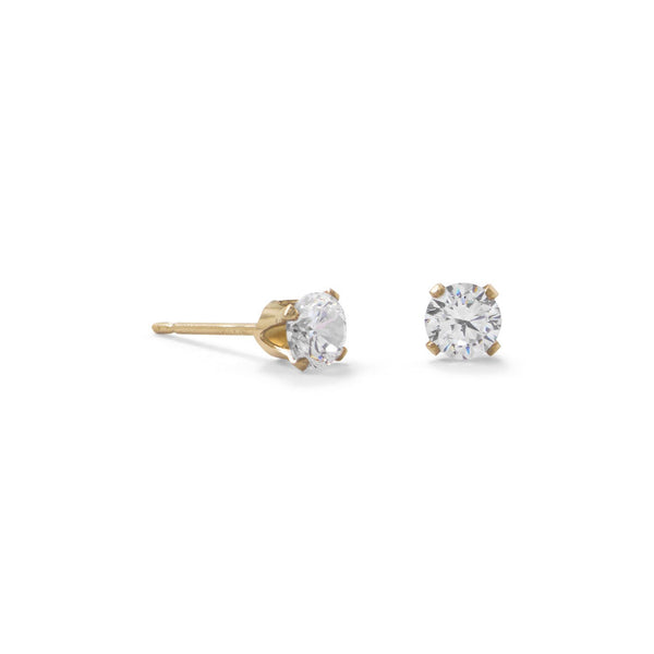 14/20 Gold Filled 4mm CZ Stud Earrings - LazerPoints.com