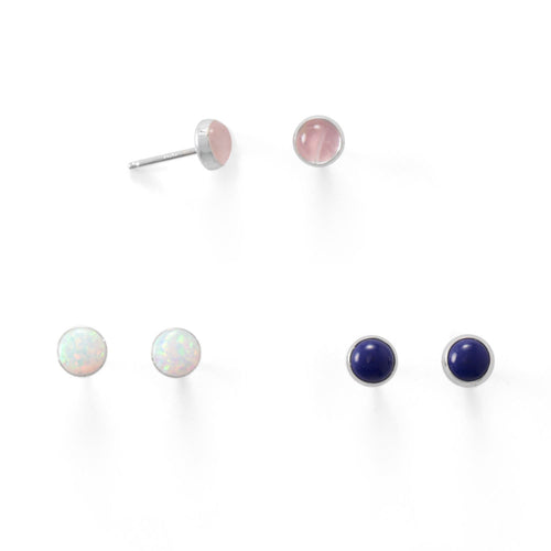 Set of 3 Synthetic White Opal, Lapis, and Rose Quartz Button Studs - LazerPoints.com