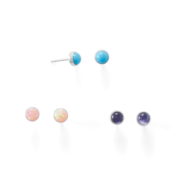Set of 3 Synthetic Pink Opal, Reconstituted Turquoise, and Iolite Button Studs - LazerPoints.com