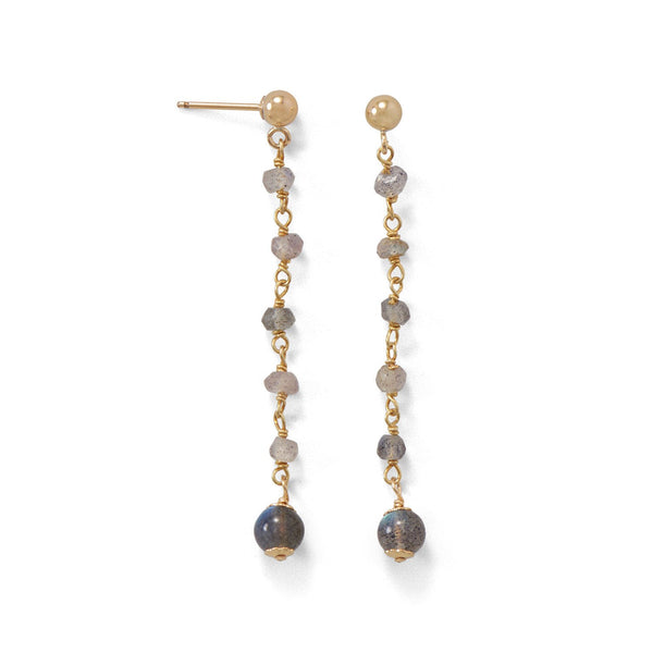 14 Karat Gold Plated Post Earrings with Labradorite Beads - LazerPoints.com