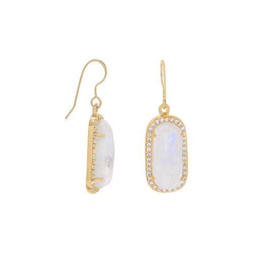 14 Karat Gold Plated Rainbow Moonstone with CZ Edge Earrings - LazerPoints.com