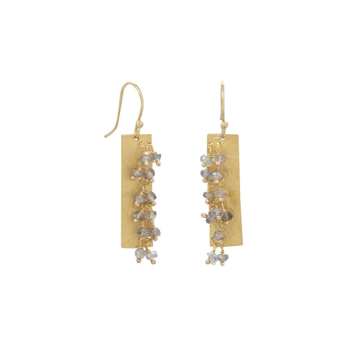 14 Karat Gold Plated Textured Rectangle and Labradorite Bead Earrings - LazerPoints.com