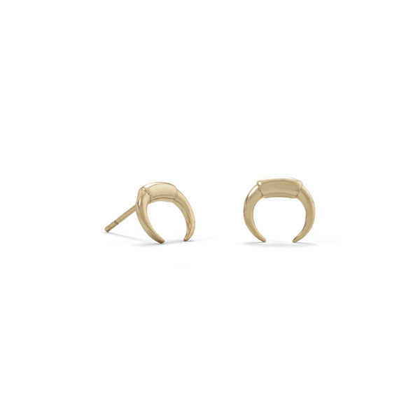 14 Karat Gold Plated Mini Crescent Studs - LazerPoints.com