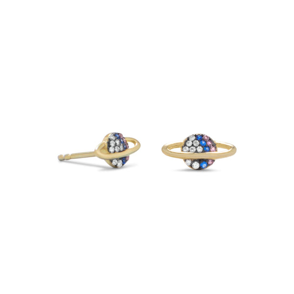 14 Karat Gold Plated Mini CZ Planet Studs - LazerPoints.com