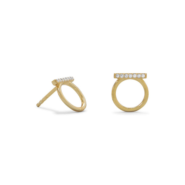 18 Karat Gold Plated CZ Bar and Circle Studs - LazerPoints.com