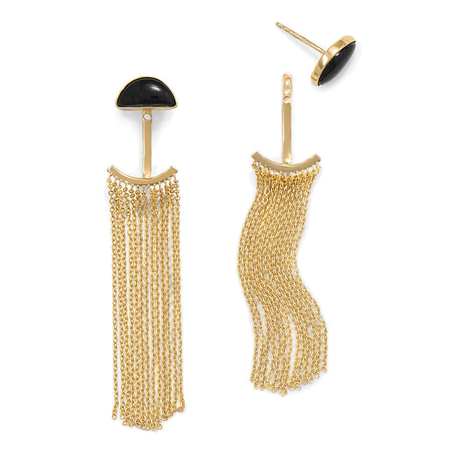 14 Karat Gold Plated Black Onyx and Fringe Front Back Earrings - LazerPoints.com