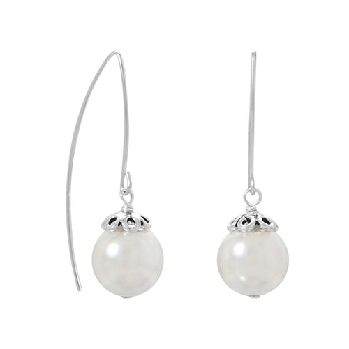 Sterling Silver Glass Pearl Wire Earrings - LazerPoints.com