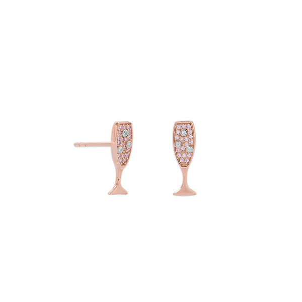 14 Karat Rose Gold Plated CZ Champagne Glass Stud Earrings - LazerPoints.com
