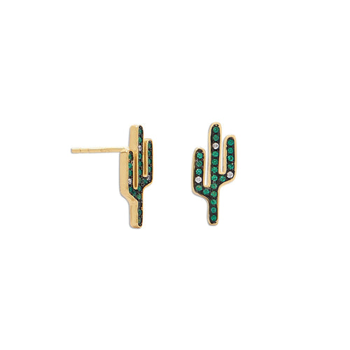 14 Karat Gold Plated CZ Saguaro Cactus Stud Earrings - LazerPoints.com