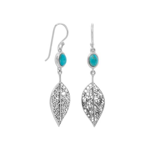 Oxidized Reconstituted Turquoise and Leaf French Wire Earrings - LazerPoints.com