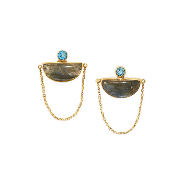 14 Karat Gold Plated Labradorite and Blue Topaz Chain Post Earrings - LazerPoints.com